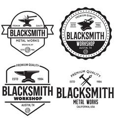 Blacksmith labels set design elements for vector