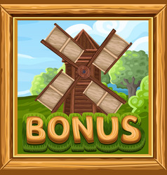 Bonus icon for slots game in farm style vector