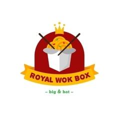Bright wok box chineese cafe logo brand vector