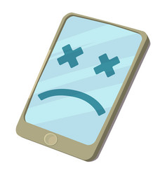 Broken smartphone icon cartoon style vector