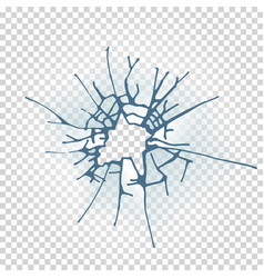 broken window glass realistic daylight design vector image