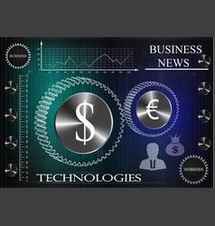 business statistics on a dark blue background vector image