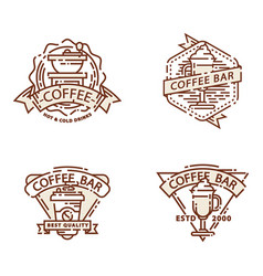 coffee badge food thin line lettering vector image