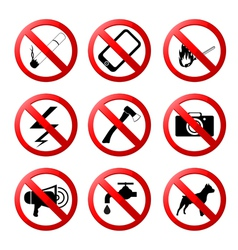 Collection ban road signs vector