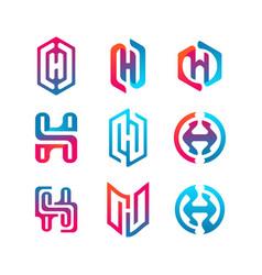 Collection letter logo h color gradient vector