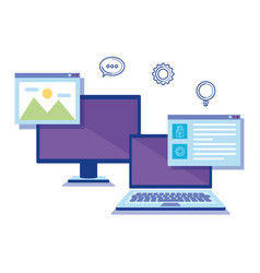 computers with social media icons vector image