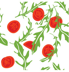 Cooking herbs arugula and tomatoes pattern vector