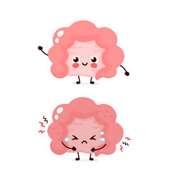 Cute sad unhealthy sick intestine vector