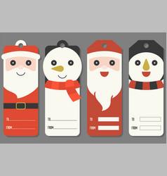 Cute tags of santa claus and snowman vector
