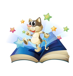 Dancing cat book vector