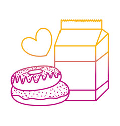 Degraded line milk box with sweet donuts and heart vector