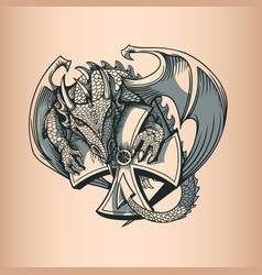 Dragon with cross hand drawing image vector