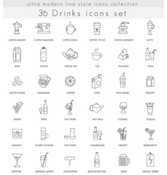drinks ultra modern outline line icons vector image