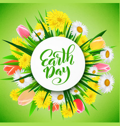 Earth day template for poster with handdrawn vector