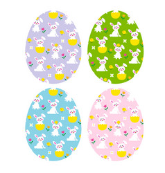 easter eggs with cute bunnies and chicks vector image