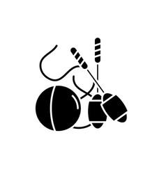 easy gymnastics black icon sign on vector image