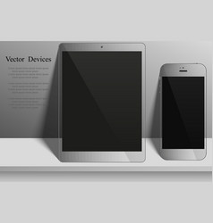 electronic devices on light background tablet and vector image