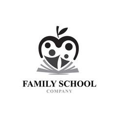 Family education logo designs book apple vector