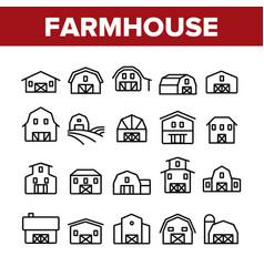 Farmhouse collection elements icons set vector