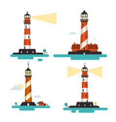 flat design lighthouse lighthouses set isolated vector image