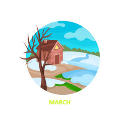 flat vecrtor icon in circle shape with small house vector image