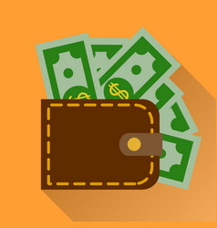 Flat wallet with cash icon vector