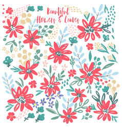 flower petal and leaves collection vector image