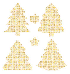 Four christmas trees at greeting card art with vector