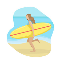 girl on a beach in a swimsuit running with a surf vector image