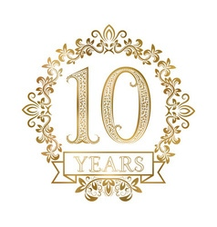 Golden emblem of tenth years anniversary in vector