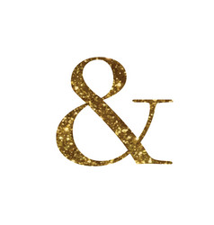 Golden glitter isolated word symbol of and vector