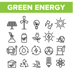 green energy sources linear icons set vector image