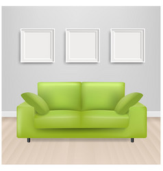 Green sofa bed with and picture frame and grey vector