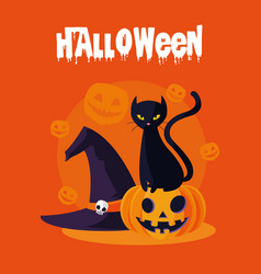 Halloween card with pumpkin and cat characters vector