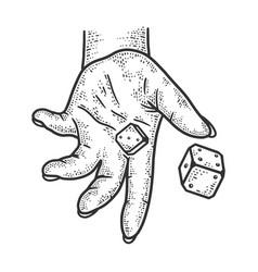 hand rolls dice sketch vector image