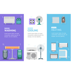 heating cooling and warming devices banner card vector image