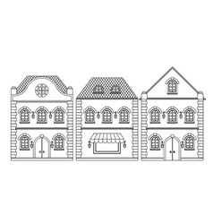houses old european buildings outline drawing vector image