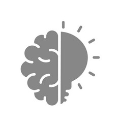 human brain with light bulb gray icon creative vector image