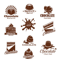 Iconis of chocolate candy desserts splash vector