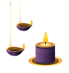 lanterns oil candles hanging vector image