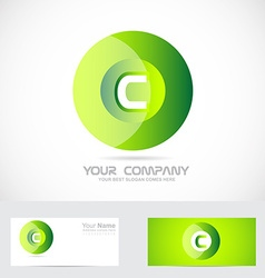 Letter C green circle logo vector image