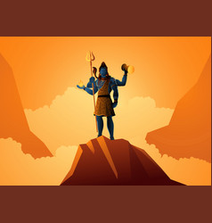 Lord shiva standing on mountain vector