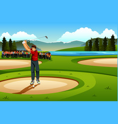 Man playing golf in competition vector