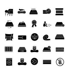 Mattress glyph icons set vector