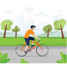 men with bicycles in city park vector image