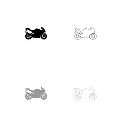Motorcycle black and grey set icon vector