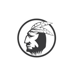Native American chief man in tribal headdress vector image