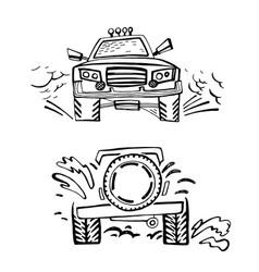 off road hand drawn car vector image