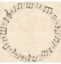 old cardboard texture with music notes frame vector image
