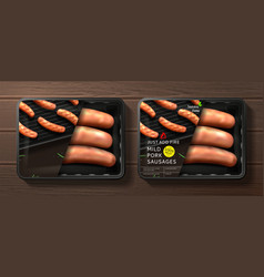 packaging of grill pork sausages vector image